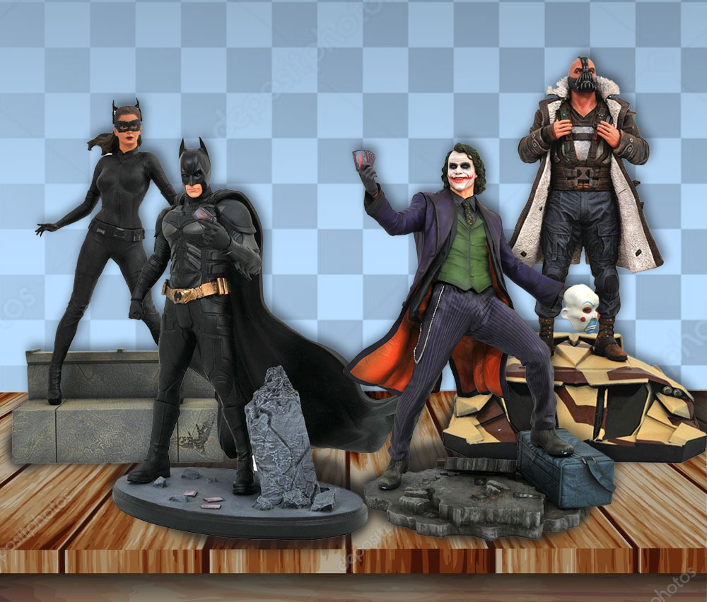 Diamond Select - Il Cavaliere Oscuro set da 4 statue PVC Batman + Joker + Catwoman + Bane
